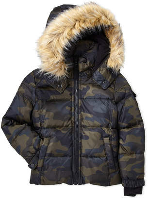 S13 Toddler Boys) Camo Downhill Faux Fur Trim Coat