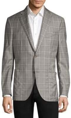 Luciano Barbera Windowpane Wool Suit Jacket