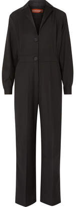 ALEXACHUNG Satin-trimmed Wool-blend Jumpsuit - Black