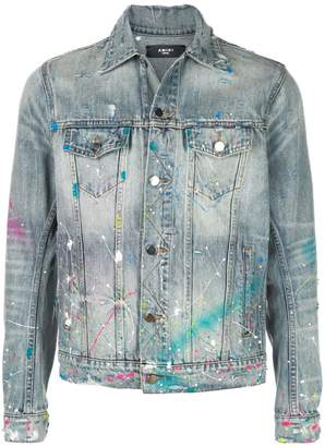 Amiri paint splatter denim jacket