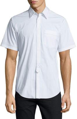 Alexander Wang Contrast-Stitch Short-Sleeve Shirt, White