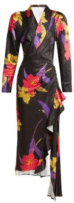 Dodo Bar Or - Ava Satin Jacquard Midi Dress - Womens - Black Multi