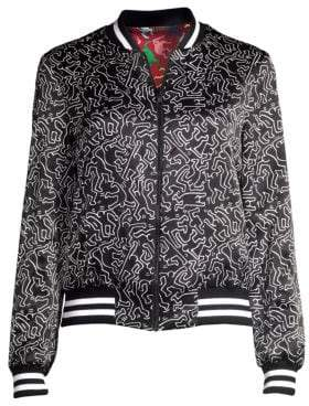 Alice + Olivia Keith Haring X Lonnie Graphic Reversible Silk Bomber Jacket