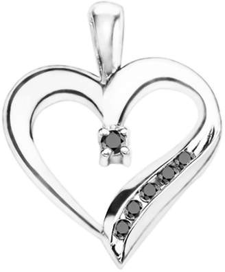 TwoBirch 10k White Gold 10k White Gold Adorned Heart Shaped Pendant with Chain Charm set with Black CZ (0.25 ct. twt.) with Black CZ (0.25 ct. twt.)