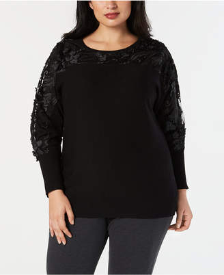 JM Collection Plus Size Embellished Mesh Sweater