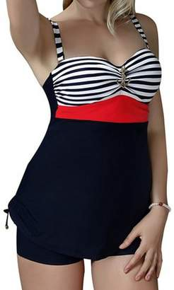 Crazycatz@Women Two Piece Swimwear Tankini Sets Swimdress+boyshorts
