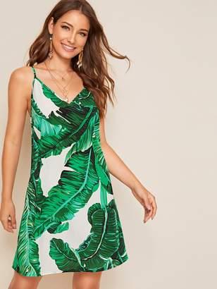 Shein Tropical Print Flowy Slip Dress