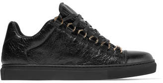 Balenciaga - Arena Crinkled-leather Sneakers - Black $595 thestylecure.com