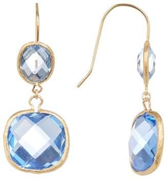 Rivka Friedman 18K Gold Clad Inverted Teardrop and Cushion Shape Swiss Blue Crystal Double Dangle Earrings