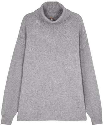 Free People Softly Structured Grey Roll-neck Jumper