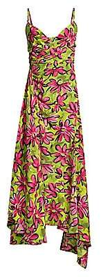 Michael Kors Women's Daisy Floral Crepe De Chine Asymmetric Dress