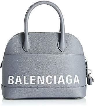 Balenciaga Grey Ville Leather Bowling Bag