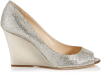 Jimmy Choo BAXEN Champagne Glitter Fabric Peep Toe Wedges