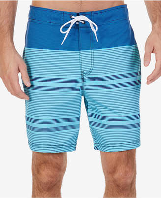 "Nautica Men's Quick Dry Engineered-Stripe 8"" Swim Trunks"