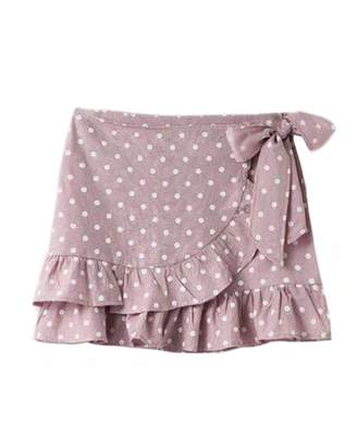 Goodnight Macaroon 'Verity' Dotted Wrap Tied Ruffle Mini Skirt (2 Colors)