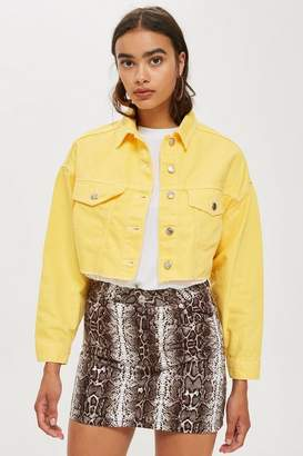 Topshop Petite Yellow Hacked Denim Jacket