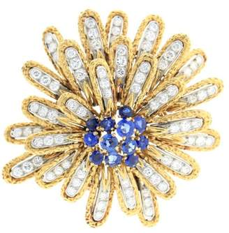 Van Cleef & Arpels Vintage Yellow Gold diamond and sapphire pin