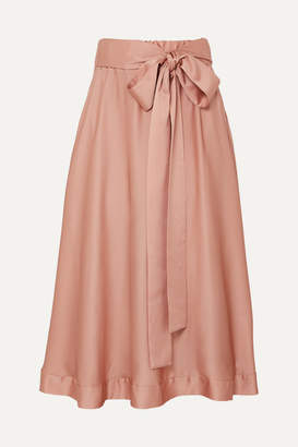 I.D. Sarrieri Silk-satin Midi Skirt - Antique rose