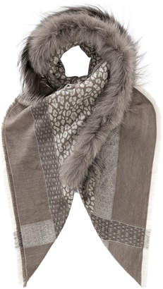 Jimmy Choo LARA Dove Wool Shawl with Silver Fox Fur