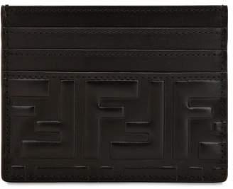 Fendi Ff Embossed Leather Card Holder