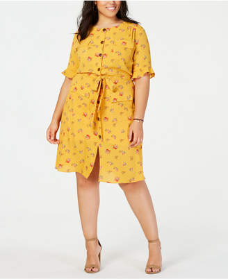 Monteau Trendy Plus Size Printed Shirtdress