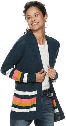 It's Our Time Its Our Time Juniors' Long Sleeve Striped Open Front Cardigan