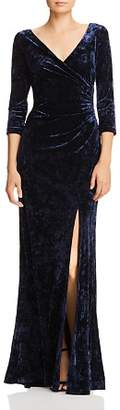 Adrianna Papell Ruched Velvet Long-Sleeve Gown