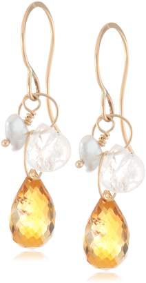 Melissa Joy Manning 14k Yellow , Keshi Cultured Pearl, Moonstone, and Citrine Drop Earrings