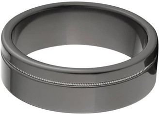 Generic 7mm Flat Black Zirconium Ring with One Off-Center Groove