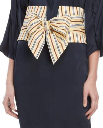 Jil Sander Navy Yellow Striped Self-Tie Belt
