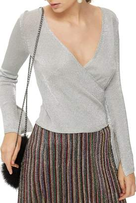 Topshop Metal Yarn Wrap Knit Top