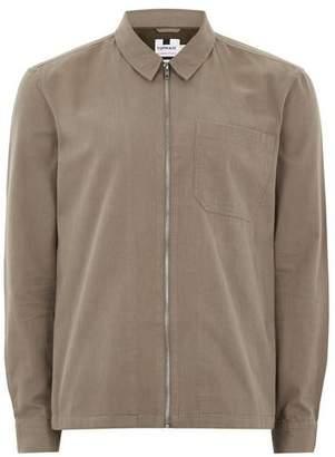 Topman Mens Light Brown 'Unfound' Embroidered Long Sleeve Overshirt