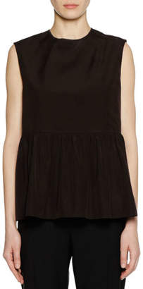 Marni Crewneck Sleeveless Cotton Woven Peplum Tank Top