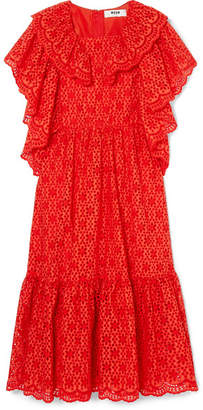 MSGM Ruffled Broderie Anglaise Cotton Midi Dress - Red