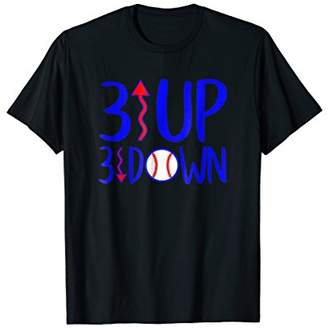 3 Up Three Down Baseball Player Mom Novelty Graphic T-Shirt