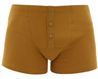 Hemen Biarritz - Albar Ribbed Organic Cotton Blend Boxer Briefs - Mens - Yellow