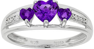 JCPenney FINE JEWELRY Genuine Amethyst Heart-Shaped 3-Stone Sterling Silver Ring