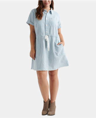 Lucky Brand Cotton Striped Plus Size Drawstring Dress