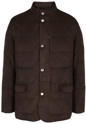 Corneliani Dark Brown Quilted Faux Suede Jacket