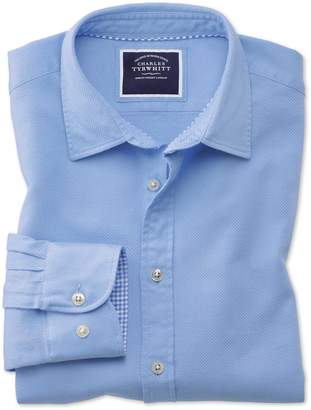 Charles Tyrwhitt Slim Fit Washed Bright Blue Honeycomb Textured Cotton Casual Shirt Single Cuff Size XS