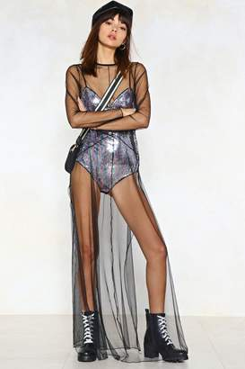 Nasty Gal Sequin the After Party Mesh Dress