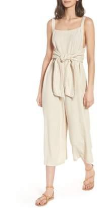BP Linen Blend Tie Front Crop Jumpsuit