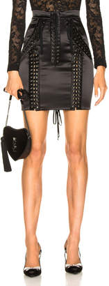 Dolce & Gabbana Lace Up Satin Skirt in Black | FWRD