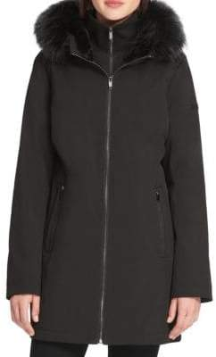 Donna Karan Faux Fur-Trimmed Hooded Coat