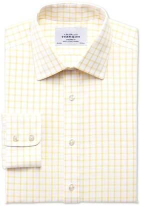 Charles Tyrwhitt Slim Fit Non-Iron Twill Grid Check Light Yellow Cotton Dress Shirt Single Cuff Size 16.5/34