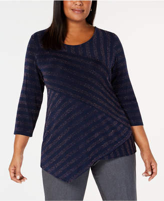JM Collection Plus Size Asymmetrical Striped Shine Tunic