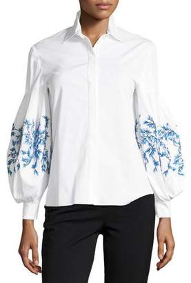 Carolina Herrera Button-Front Embroidered Balloon-Sleeves Poplin Blouse