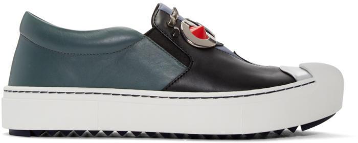 Fendi Black and Grey Fendi Faces Slip-On Sneakers