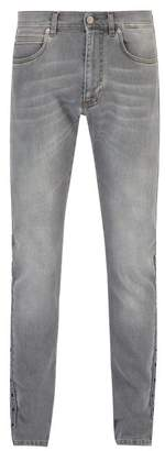 Versace Logo Stripe Straight Leg Jeans - Mens - Grey