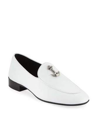 Giuseppe Zanotti Men's Dressy Leather Loafers with Anchor Detail